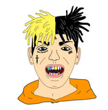 Head of a man with tattoos in his face, decorated teeth colors and dreadlocks. Trap rapper, bad guy with orange sweatshirt. Vector or illustration.
