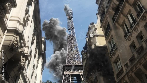 Paris Eiffel tower under attack Powerful Video Compositing simulates real video footage with visual effects elements of Paris Eiffel tower Destroyed after attack with smoke and debris