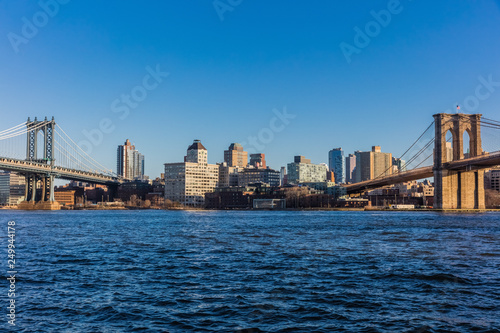 fototapeta na ścianę the Brooklyn and Manhattan Bridges Landmarks in New York City USA