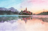 Watercolor painting - Slovenia Bled island ver 2
