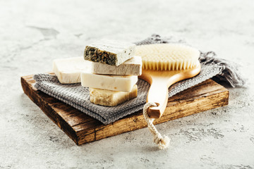 Natural aroma soap and brush for body.