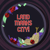 Conceptual hand writing showing Land Marks City. Business photo text Important architecture places in the cities to visit Hand Drawn Lamb Chops Herb Spice Cherry Tomatoes on Plate - 249965772