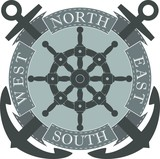 Color illustration of anchor wheel and banner with text.