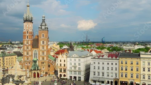 aerial view to market square of krakow