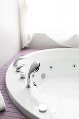 Large homemade heated bath and underwater massage. jacuzzi