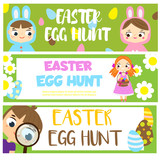 Easter egg hunt banners with cartoon kids. Children Easter fun activity. Vector template for Invitations, advertisements