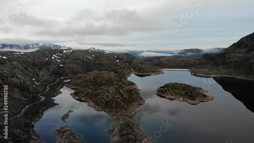 Aerial view. Lakes in stone rocky mountains, morning time. Norway landscape. Norwegian national tourist scenic route Ryfylke