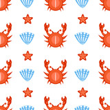 Marine seamless vector pattern cartoon swimming crab, seashell, starfish illustration isolated on white background, summer decorative texture, design wallpaper, sea backdrop, textile, wrapping papers