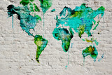 3D Wallpaper design with white grunge brick wall background and world map for mural