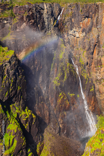 Voringsfossen waterfall with rainbow, Norway - 249993799
