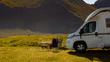 Camper van on nature, Lofoten Norway