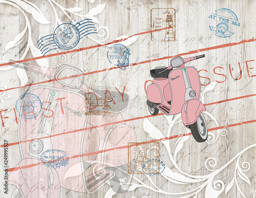 3D Wallpaper design with vintage motor bike and stamps for mural print © Mehmetilker