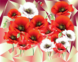 Colorful Poppies in abstract with cubism background pattern