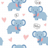Cute adorable kawaii blue elephant with heart cartoon pastel seamless pattern background wallpaper
