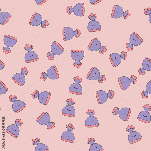 obraz PCV Seamless pattern with candy. Kawaii. Vector
