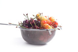 Yellow and red sweet cherry in steel colander isolate on white.