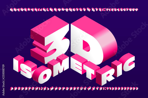 3D isometric alphabet font. 3d effect wide letters and numbers. Stock vector typescript for your typography design.