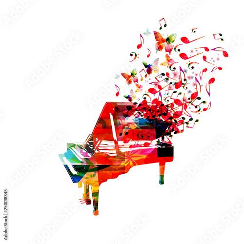 Colorful piano with music notes isolated vector illustration design. Music background. Music instrument poster with music notes, festival poster, live concert events, party flyer © abstract