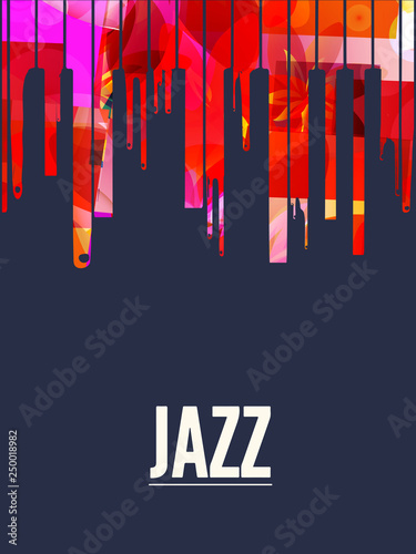 Colorful piano keys vector illustration design. Music background. Piano keyboard poster, music festival poster, live concert events, party flyer © abstract
