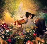 Beautiful Fairy Girl Flying through an Enchanting Fantasy Forest