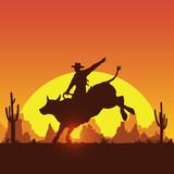 Rodeo cowboy riding bull at sunset, vector - 250024787