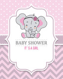 Baby girl shower card. Cute elephant