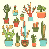set of plants and plants in pots, cactus icon, summer design element