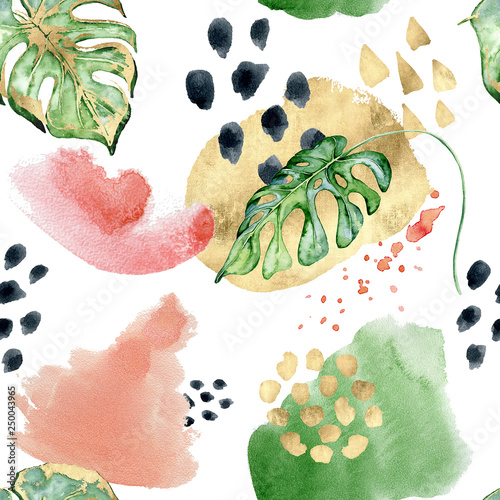 Collage Abstract tropical memphis seamless pattern. Watercolor monstera leaves, hand drawn black and gold shapes on white background. © EvgeniiasArt