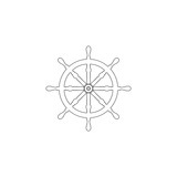 Ship steering wheel. flat vector icon