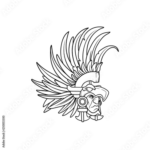 23bd68fc3 Amazing outline of the aztec elite warrior wearing an eagle helmet with  long feathers