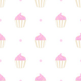 Cupcake with dots pattern