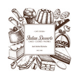 talian desserts illustrations collection. Vector baking and pastries background.