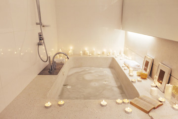 Night spa bath with candles