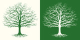 Set of two silhouettes of a bare tree . Vector illustration.