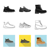 Vector illustration of shoe and footwear sign. Set of shoe and foot stock symbol for web.