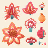 Watercolor floral vector set - 250068916