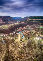 Drone top view on Patriarchal Cathedral of the Holy Ascension of God in Medieval Stronghold Tsarevets,Veliko Tarnovo. Bulgaria © todor