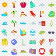 Small vacation icons set. Cartoon style of 36 small vacation vector icons for web for any design