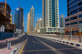 empty street intersection in Dubai city, United Arab Emirates