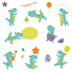 Cute Little Funny Colorful Cartoon T Rex Dinosaur Birthday Party Set Flat Color Vector Illustration Isolated on White