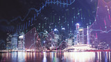 Trading graph on the cityscape at night background. Business and financial concept. Double exposure. Singapore - 250080340