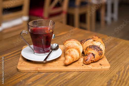 Cup of tea and croissants © Boggy