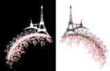 eiffel tower and paris city with elegant bridge among cherry tree blossom - spring season in france vector design set