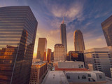 City of Los Angeles at sunset, downtown buildings skyline. Wide angle.