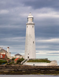 Saint Mary's Lighthouse close up. Summer seascape. Whitley Bay, North Sea. United Kingdom.