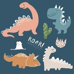 childish dinosaur vector set for fashion clothes, fabric, t shirts. hand drawn vector with lettering © neapol