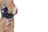 Beautiful busty woman in glossy USA swimsuit - 250105767