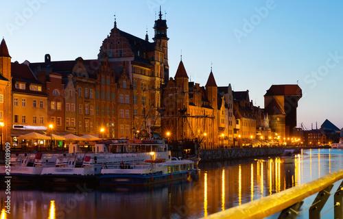 obraz lub plakat Image of night light of Moltawa River in Gdansk