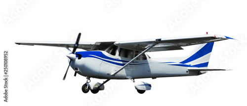 Small ports aeroplane on a clean white background
