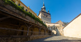 View of clock tower from fortress square in Sighisoara